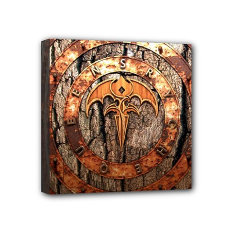 Queensryche Heavy Metal Hard Rock Bands Logo On Wood Mini Canvas 4  X 4