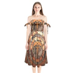 Queensryche Heavy Metal Hard Rock Bands Logo On Wood Shoulder Tie Bardot Midi Dress