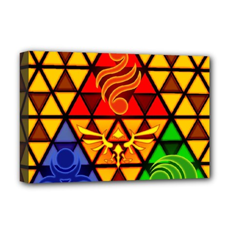 The Triforce Stained Glass Deluxe Canvas 18  X 12