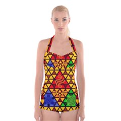 The Triforce Stained Glass Boyleg Halter Swimsuit
