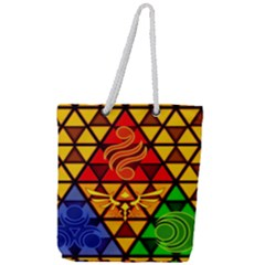 The Triforce Stained Glass Full Print Rope Handle Tote (large)
