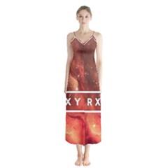 Trxye Galaxy Nebula Button Up Chiffon Maxi Dress