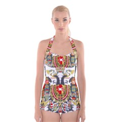 Imperial Coat Of Arms Of Austria Hungary  Boyleg Halter Swimsuit