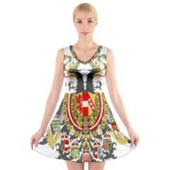 Imperial Coat Of Arms Of Austria Hungary  V Neck Sleeveless Skater Dress