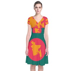 Flag Of Bangladesh, 1971 Short Sleeve Front Wrap Dress