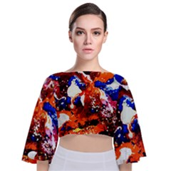 Smashed Butterfly 1 Tie Back Butterfly Sleeve Chiffon Top