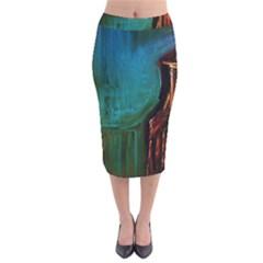 Ceramics Of Ancient Land 10 Velvet Midi Pencil Skirt by bestdesignintheworld