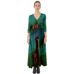 Ceramics Of Ancient Land 10 Button Up Boho Maxi Dress