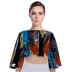 Ceramics Of Ancient Land 6 Tie Back Butterfly Sleeve Chiffon Top
