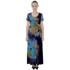 Blue Options 5 High Waist Short Sleeve Maxi Dress