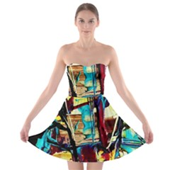 Dance Of Oil Towers 4 Strapless Bra Top Dress