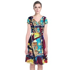 Dance Of Oil Towers 4 Short Sleeve Front Wrap Dress