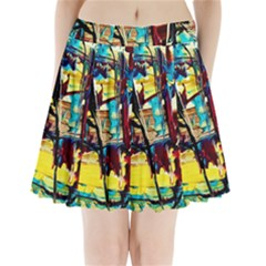 Dance Of Oil Towers 4 Pleated Mini Skirt