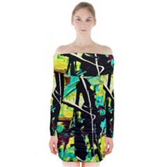 Dance Of Oil Towers 5 Long Sleeve Off Shoulder Dress