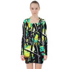 Dance Of Oil Towers 5 V Neck Bodycon Long Sleeve Dress