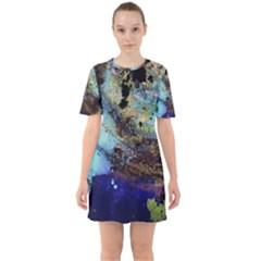 Blue Options 3 Sixties Short Sleeve Mini Dress