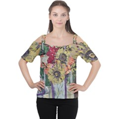 Sunflowers And Lamp Cutout Shoulder Tee