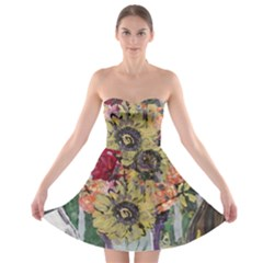 Sunflowers And Lamp Strapless Bra Top Dress