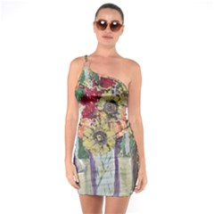 Sunflowers And Lamp One Soulder Bodycon Dress