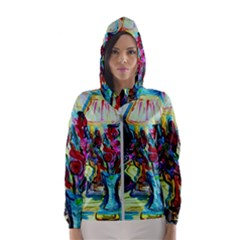 Still Life With Two Lamps Hooded Wind Breaker (women)