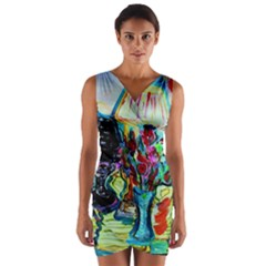 Still Life With Two Lamps Wrap Front Bodycon Dress
