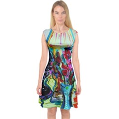 Still Life With Two Lamps Capsleeve Midi Dress