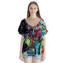 Still Life With Two Lamps V Neck Flutter Sleeve Top