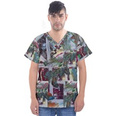 Still Life With Tangerines And Pine Brunch Men s V Neck Scrub Top