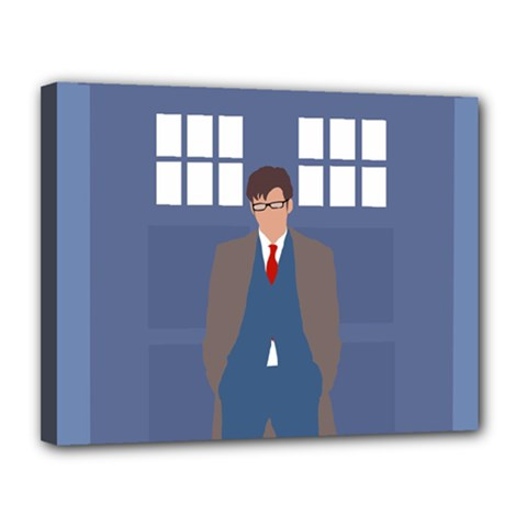 Tenth Doctor And His Tardis Canvas 14  X 11
