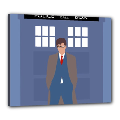 Tenth Doctor And His Tardis Canvas 24  X 20  by Samandel