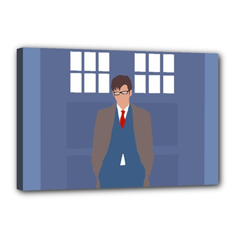 Tenth Doctor And His Tardis Canvas 18  X 12  by Samandel