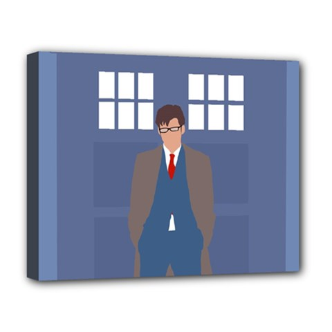 Tenth Doctor And His Tardis Deluxe Canvas 20  X 16