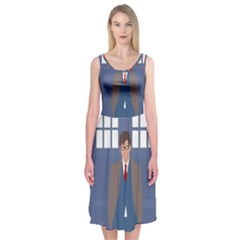 Tenth Doctor And His Tardis Midi Sleeveless Dress