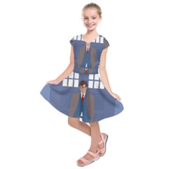Tenth Doctor And His Tardis Kids  Short Sleeve Dress