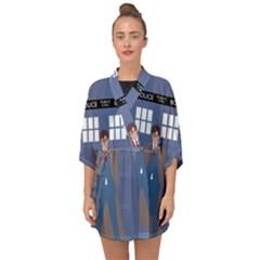 Tenth Doctor And His Tardis Half Sleeve Chiffon Kimono