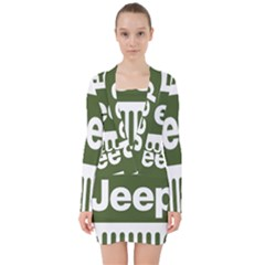Only In A Jeep Logo V Neck Bodycon Long Sleeve Dress