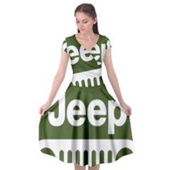 Only In A Jeep Logo Cap Sleeve Wrap Front Dress