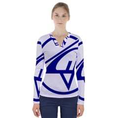 Sukhoi Aircraft Logo V Neck Long Sleeve Top