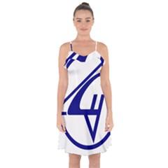 Sukhoi Aircraft Logo Ruffle Detail Chiffon Dress