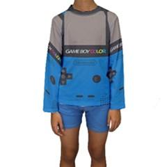 Game Boy Colour Blue Kids  Long Sleeve Swimwear