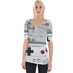 Game Boy White Wide Neckline Tee