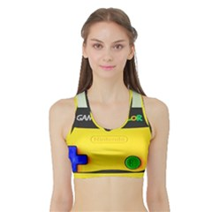 Game Boy Yellow Sports Bra With Border by Samandel