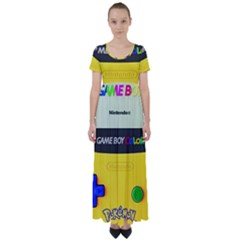 Game Boy Yellow High Waist Short Sleeve Maxi Dress