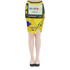 Game Boy Yellow Midi Wrap Pencil Skirt