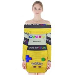 Game Boy Yellow Long Sleeve Off Shoulder Dress