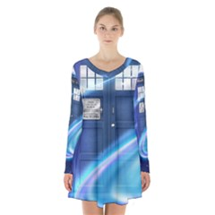 Tardis Space Long Sleeve Velvet V Neck Dress