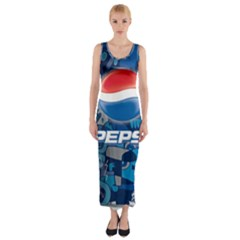 Pepsi Cans Fitted Maxi Dress