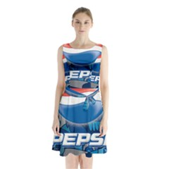 Pepsi Cans Sleeveless Waist Tie Chiffon Dress