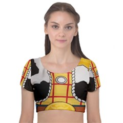 Woody Toy Story Velvet Short Sleeve Crop Top