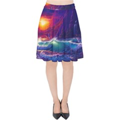 Sunset Orange Sky Dark Cloud Sea Waves Of The Sea, Rocky Mountains Art Velvet High Waist Skirt by Sapixe